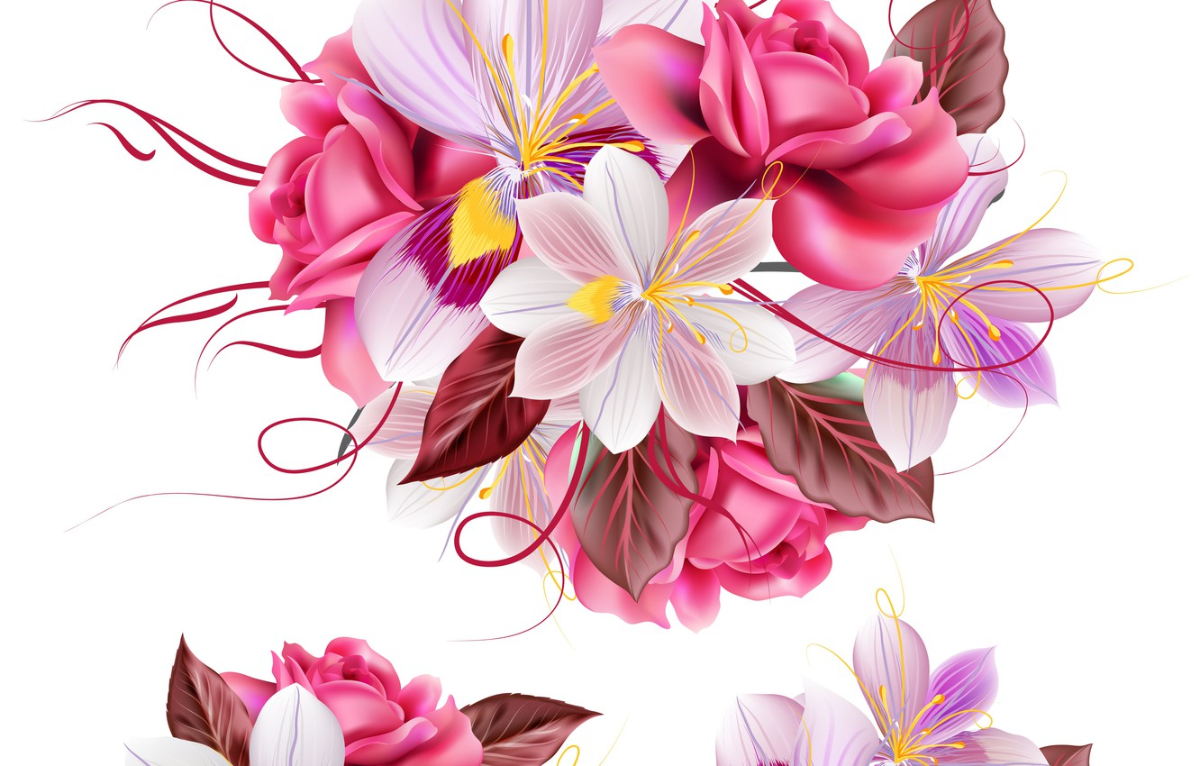 Photo wallpaper flowers, texture, white background