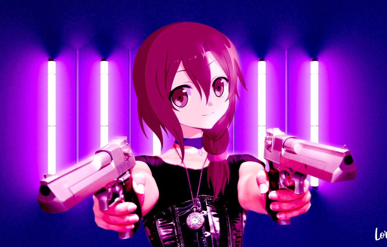Photo wallpaper girl, weapons, anime, guns, anime