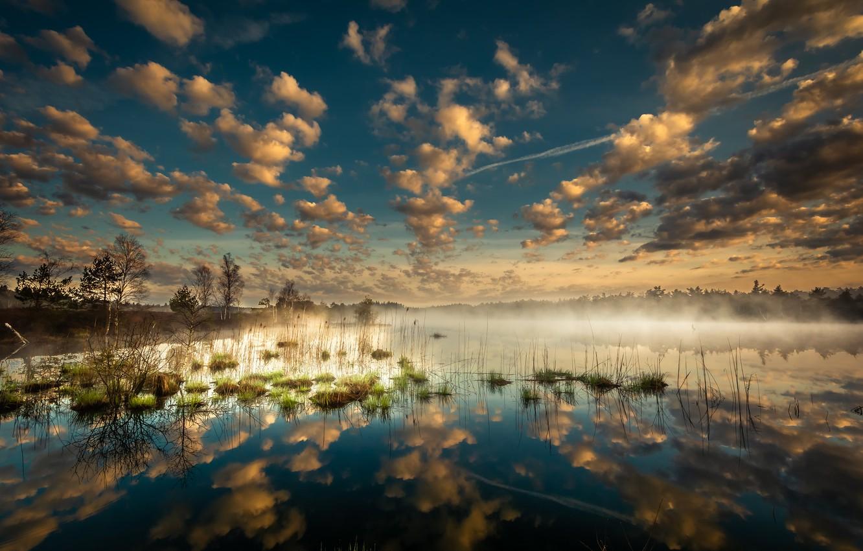 Photo wallpaper clouds, fog, lake