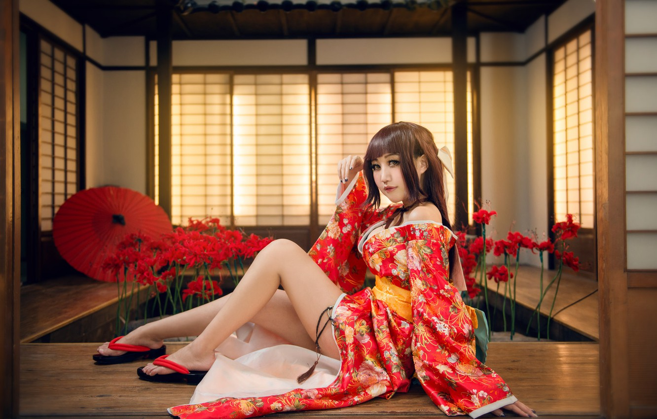 Photo wallpaper look, girl, light, flowers, red, face, sexy, pose, style, background, room, red, feet, interior, umbrella, …