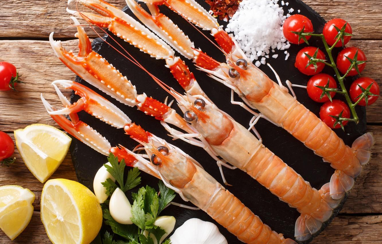 Photo wallpaper lemon, dish, seafood, crustaceans