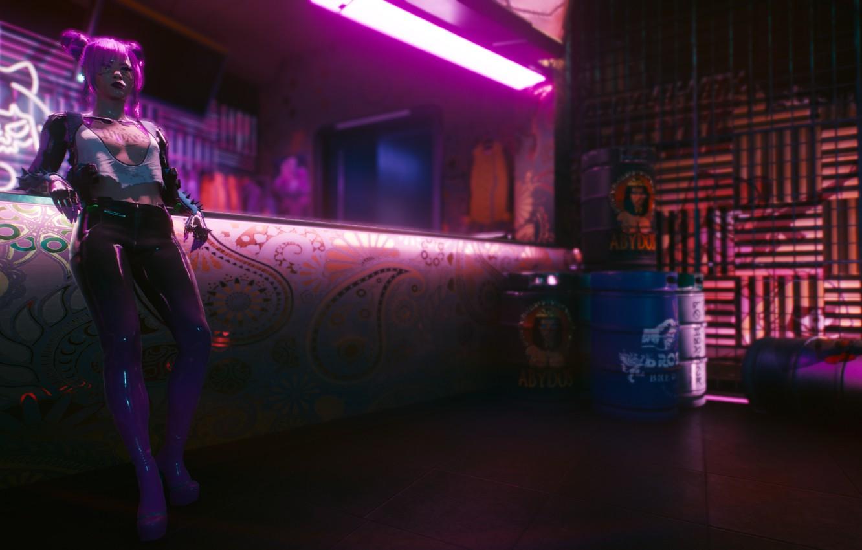 Photo wallpaper Girl, Neon, Bar, Neon, Cyberpunk 2077, Rascal, Cyberpunk 2077, Night city 2077