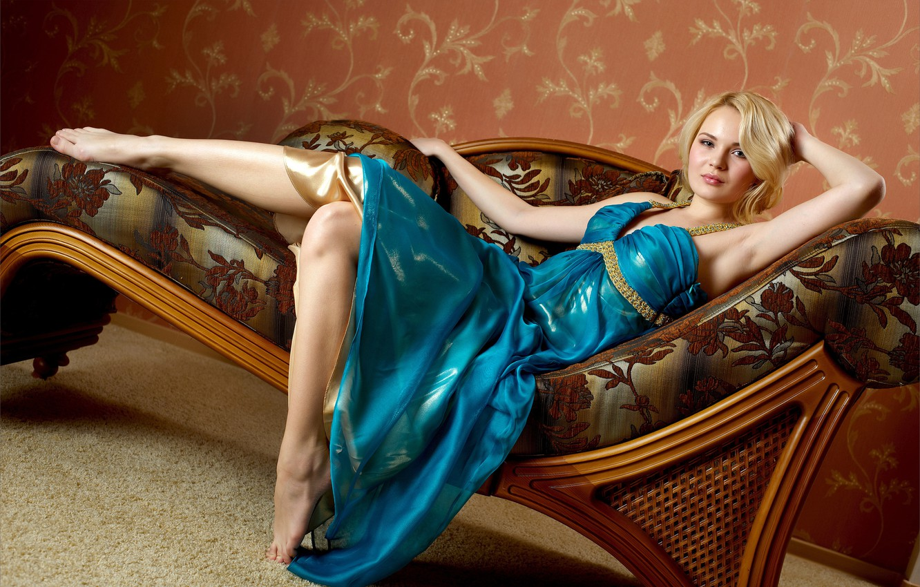 Photo wallpaper Talia, blonde beauty, elegant clothes, exquisite outfit, looking at the viewer, pretty eyes, shoulder length …