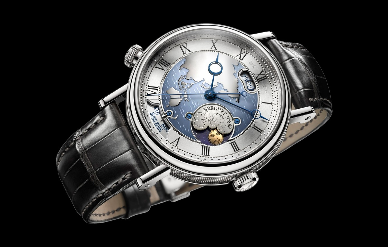 Photo wallpaper time, style, watch, dial, black background, strap, wrist, men's, Swiss watch Breguet, Breguet, the phases …