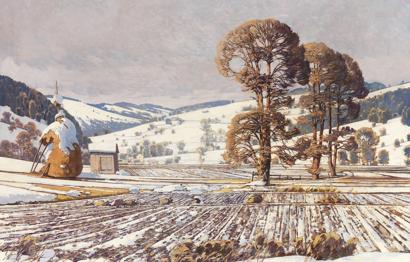 Photo wallpaper 1920, Austrian painter, Austrian painter, oil on canvas, Wechselgebirge in early spring, Exchange mountains in …