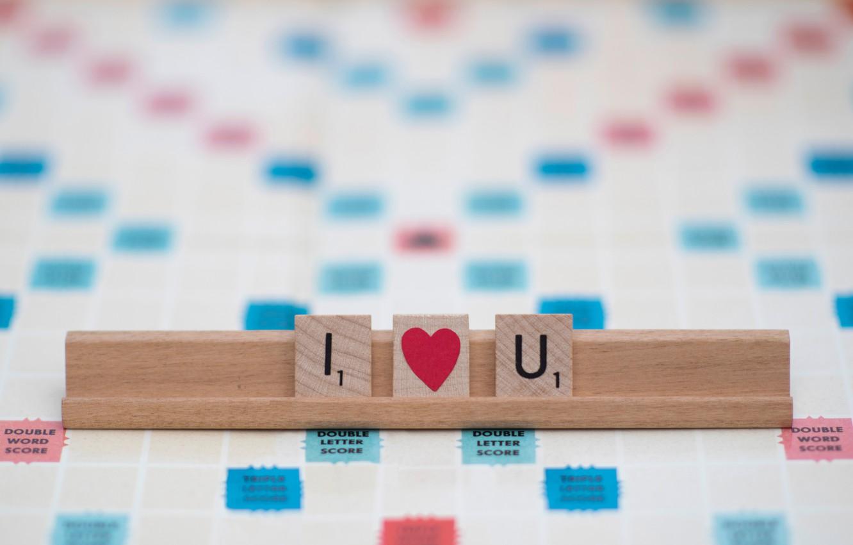 Photo wallpaper love, letters, heart