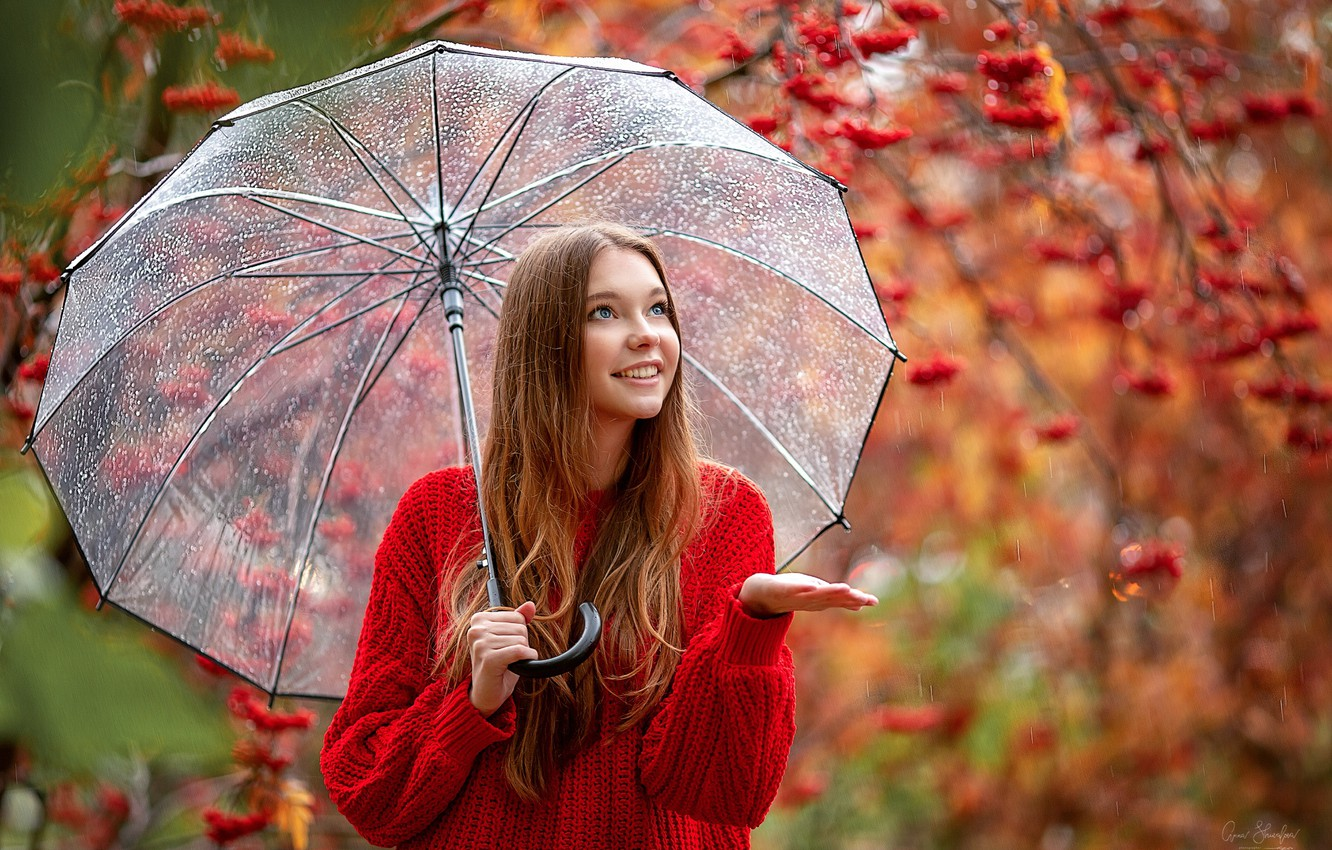 Photo wallpaper autumn, drops, smile, rain, Girl, umbrella, Rowan, Christina, Anna Shuvalova