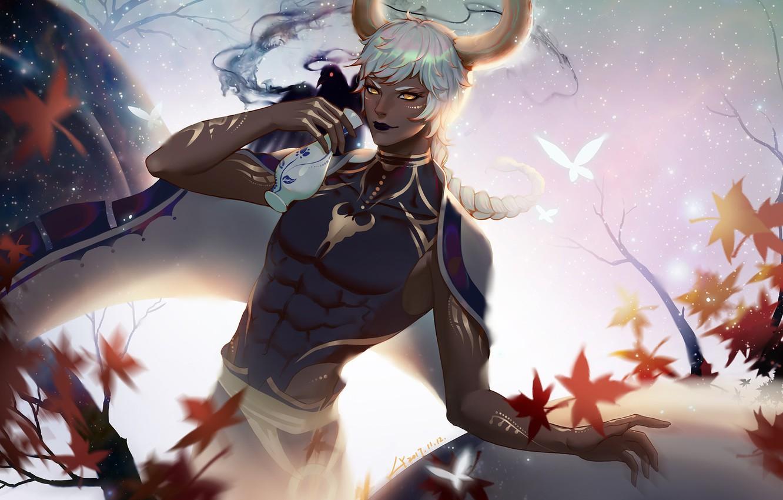 Photo wallpaper autumn, leaves, anime, art, guy, sake, LY 炼 妖, Taurus