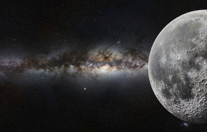Photo wallpaper moon, art, cosmos, sci fi