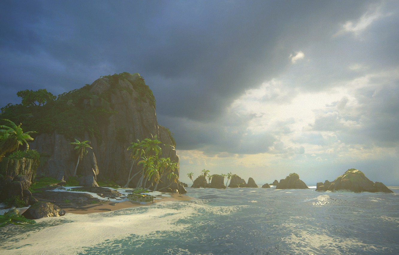 Photo wallpaper sea, palm trees, island, Naughty Dog, Playstation 4, Uncharted 4: A Thief's End