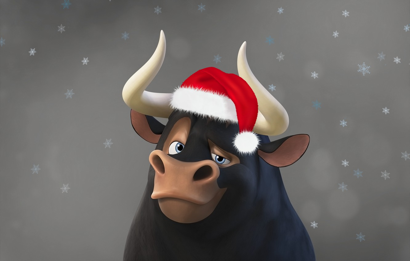 Photo wallpaper background, cartoon, new year, bull, Ferdinand