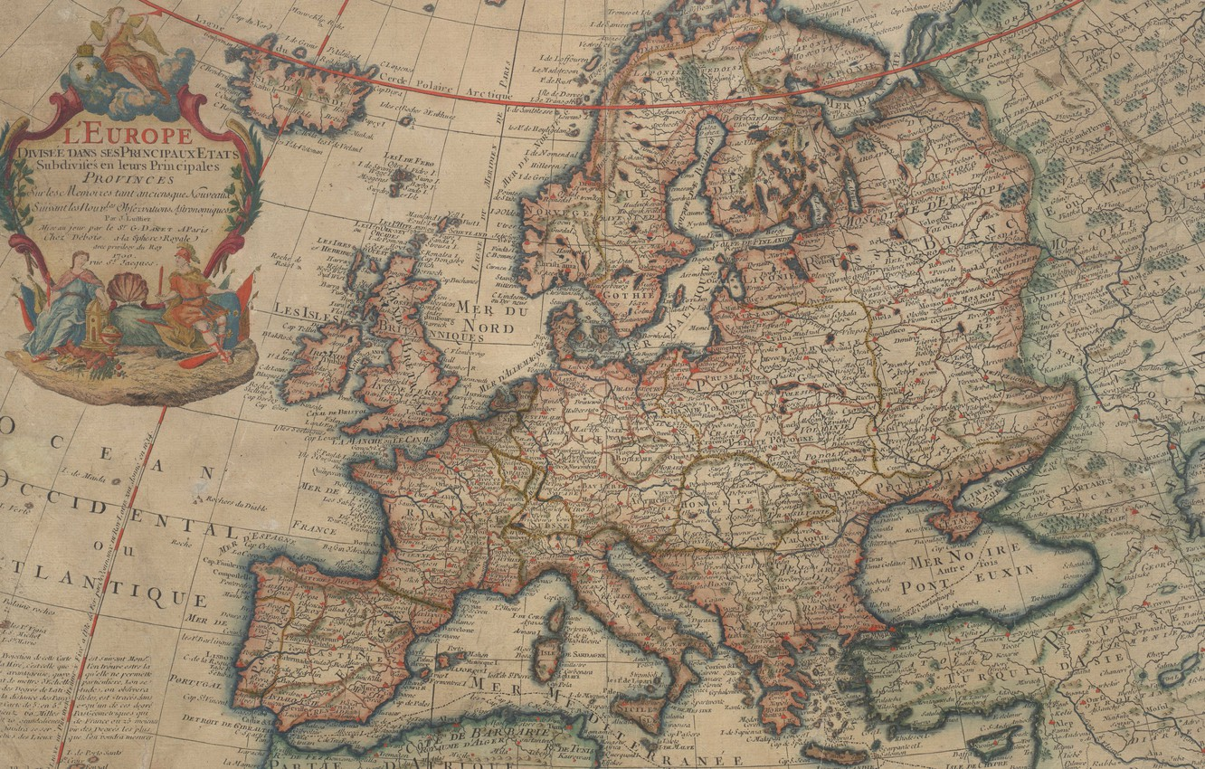 Photo wallpaper old maps, old maps, 1700, Map Of Europe, Vintage Europe map, Parchment, Map of Europe