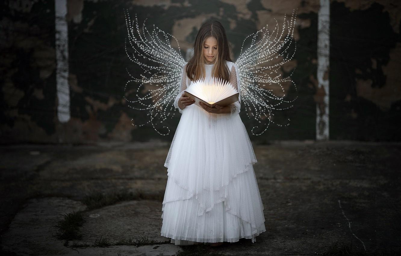 Photo wallpaper angel, girl, book