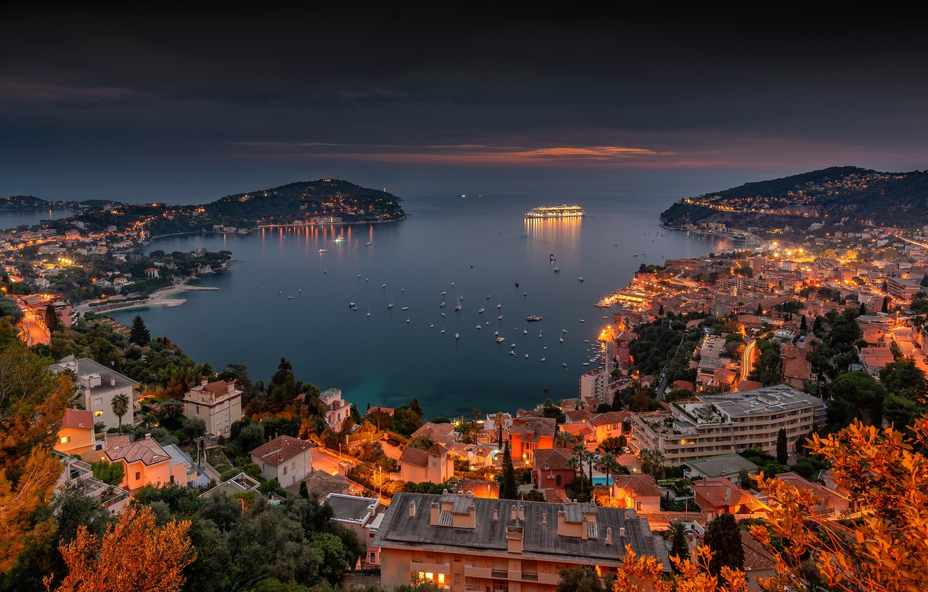 Photo wallpaper sea, France, building, home, Bay, yachts, panorama, liner, night city, France, harbour, Cote d'azur, French …