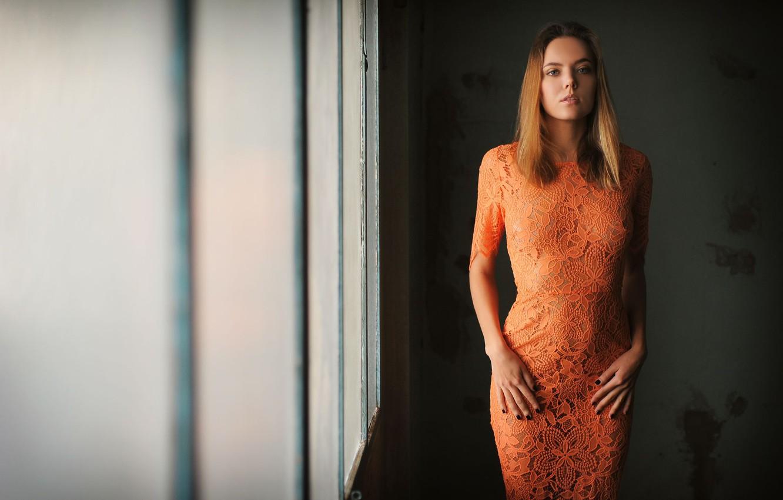 Photo wallpaper girl, dress, photo, blue eyes, model, brunette, Clover, portrait, Mango A, Katya Clover, Mango, orange …