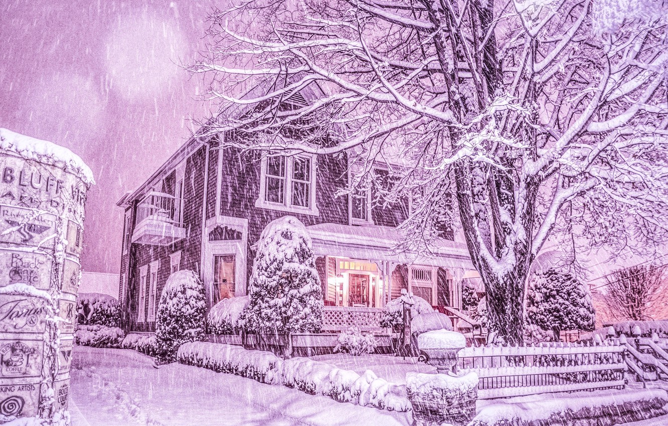 Photo wallpaper winter, snow, trees, house, snowfall, Tennessee, Chattanooga, Chattanooga, Tn, winter's tale