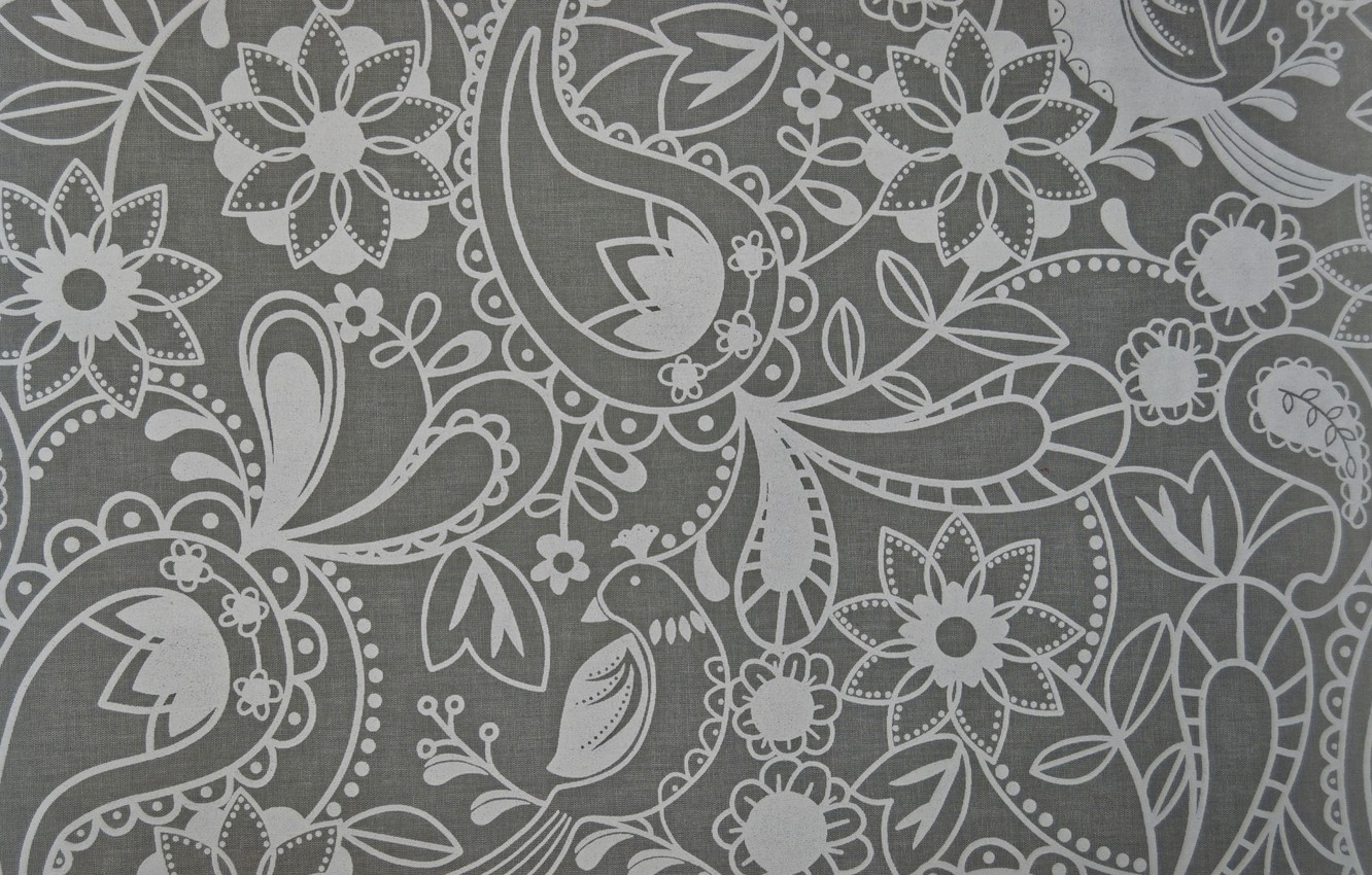 Photo wallpaper flowers, grey, background, pattern, Paisley