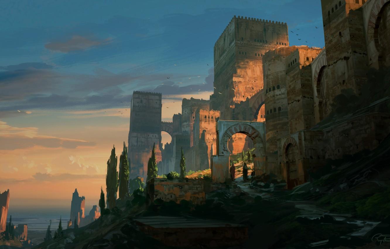 Photo wallpaper fantasy, trees, landscape, walls, people, castle, artist, digital art, artwork, fantasy art, towers, illustration, Raphael …