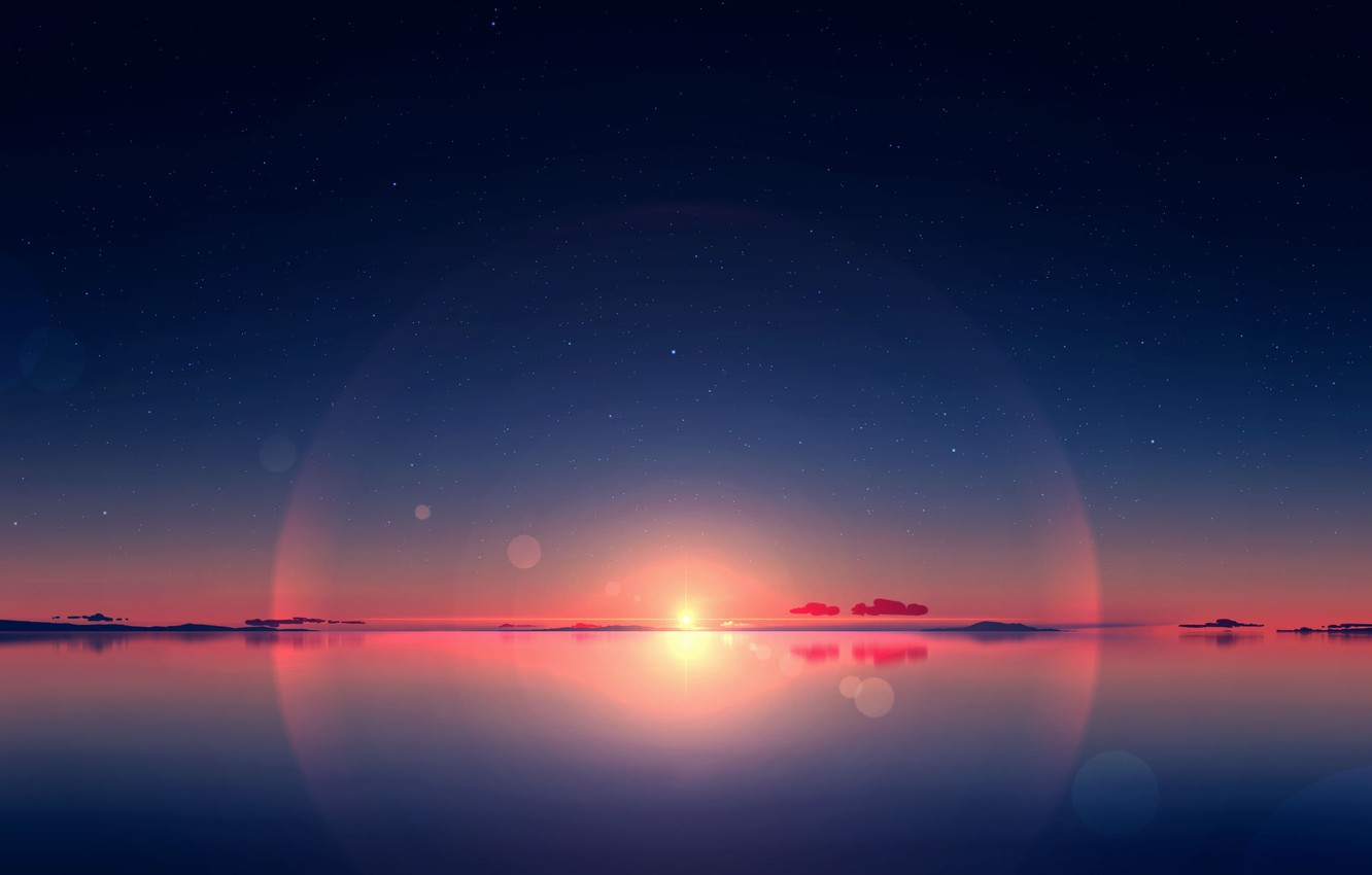 Photo wallpaper the sky, water, the sun, sunset, nature