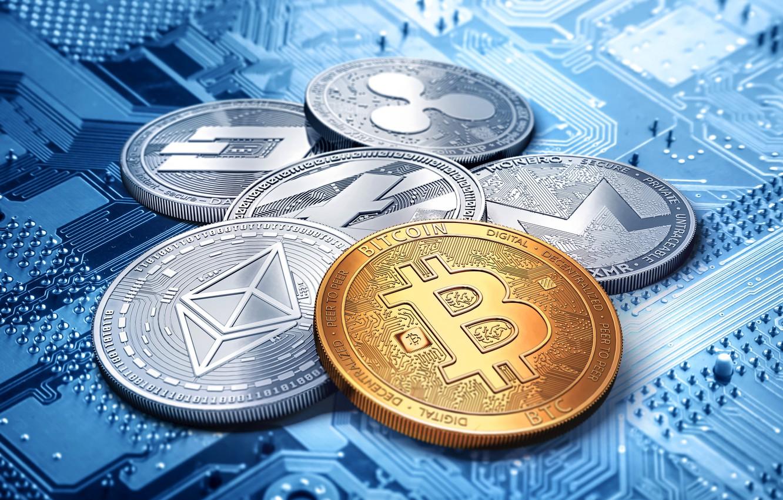 Photo wallpaper dash, bitcoin, ripple, litecoin, monero, ethereum