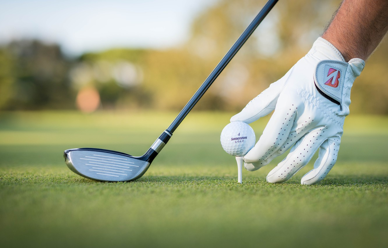 Photo wallpaper field, stick, Golf, glove, bokeh