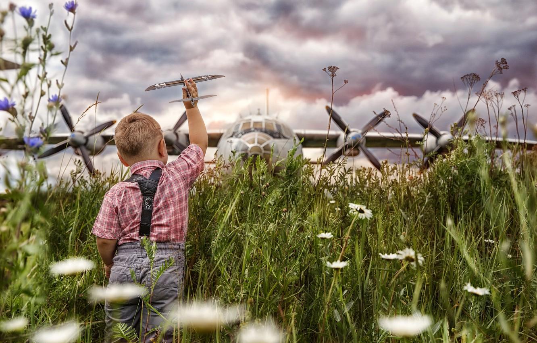 Photo wallpaper aviation, boy, aircraft