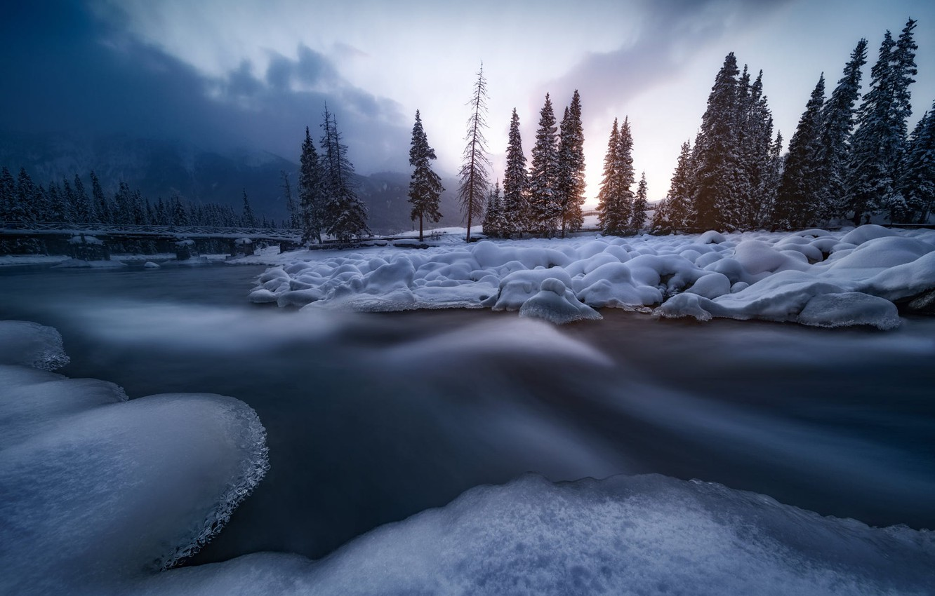 Photo wallpaper winter, snow, trees, landscape, mountains, nature, fog, river, ice, ate