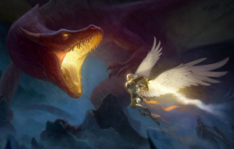 Photo wallpaper rocks, dragon, wings, angel, fantasy, art, attack, male