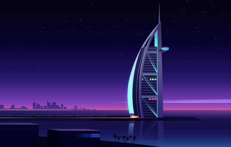 Photo wallpaper Minimalism, Night, Vector, The city, Stars, Style, Dubai, Dubai, Architecture, Art, The hotel, UAE, Burj …