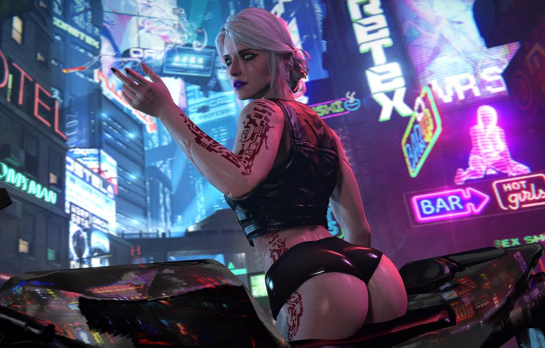 Photo wallpaper The city, cyberpunk, Art, Fiction, cyberpunk, Cyberpunk 2077, CRIS, Ciri, Cirilla, Cd projekt red, Cirilla ...