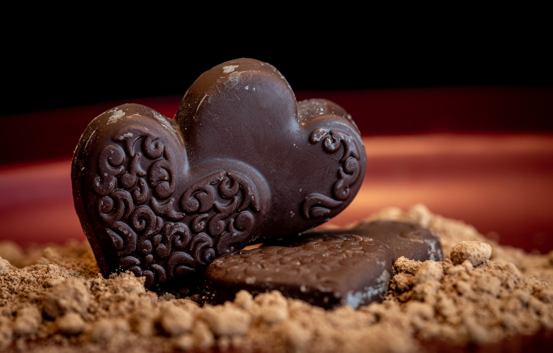 Photo wallpaper macro, chocolate, hearts
