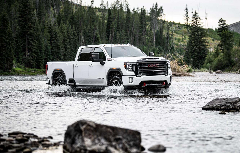 Photo wallpaper river, stones, pickup, GMC, Ford, Sierra, AT4, 2020, Sierra HD