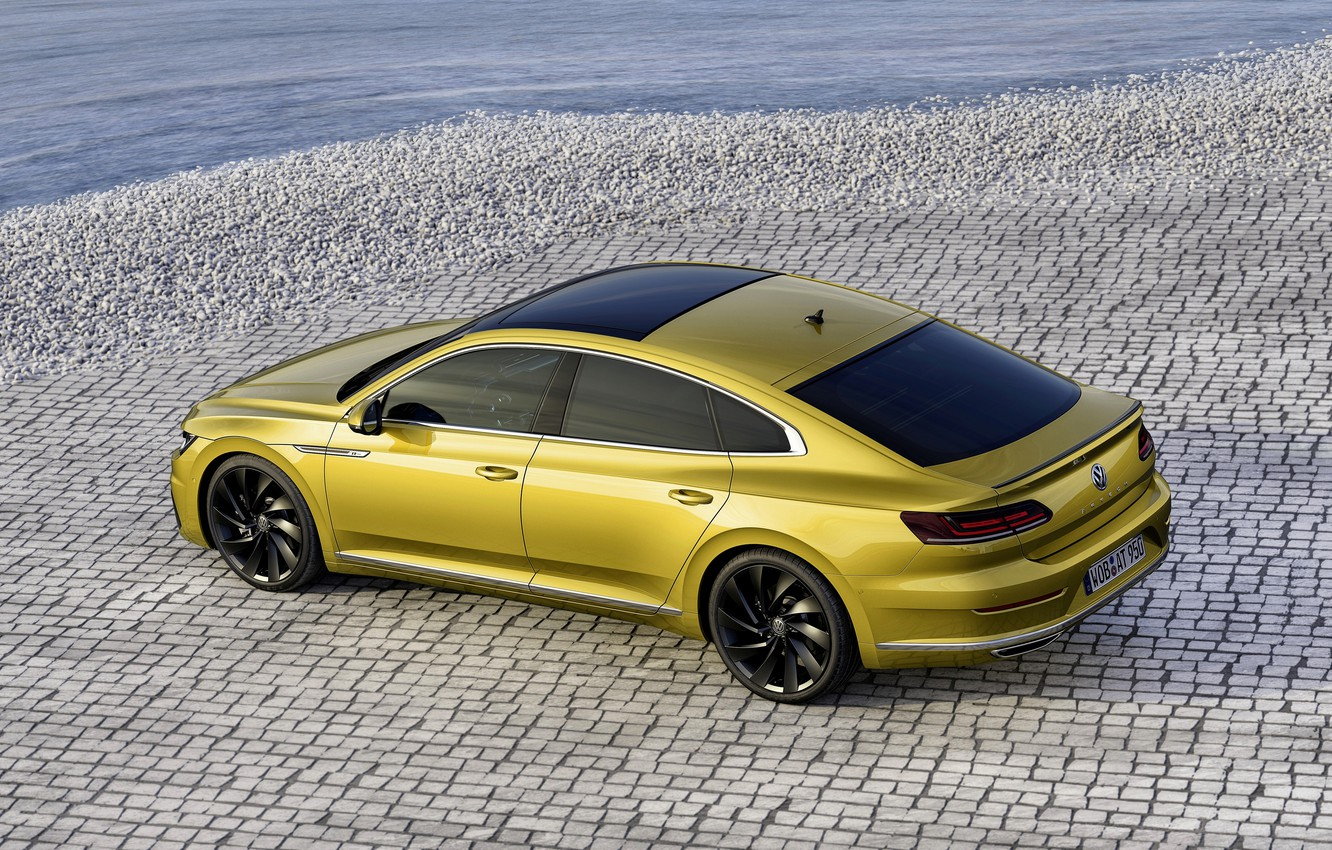 Photo wallpaper yellow, pavers, Volkswagen, 2018, R-Line, liftback, 2017, Arteon