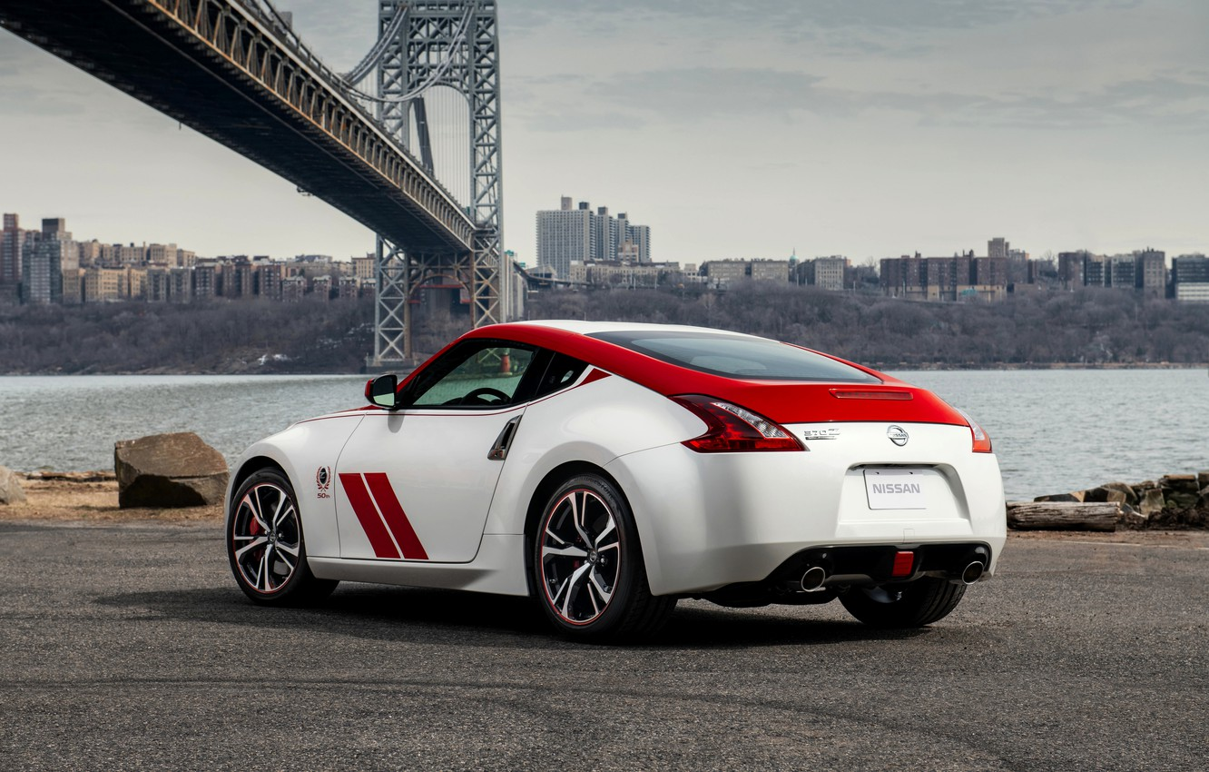 Photo wallpaper asphalt, coupe, Nissan, red-white, 370Z, 50th Anniversary Edition, 2020, 2019