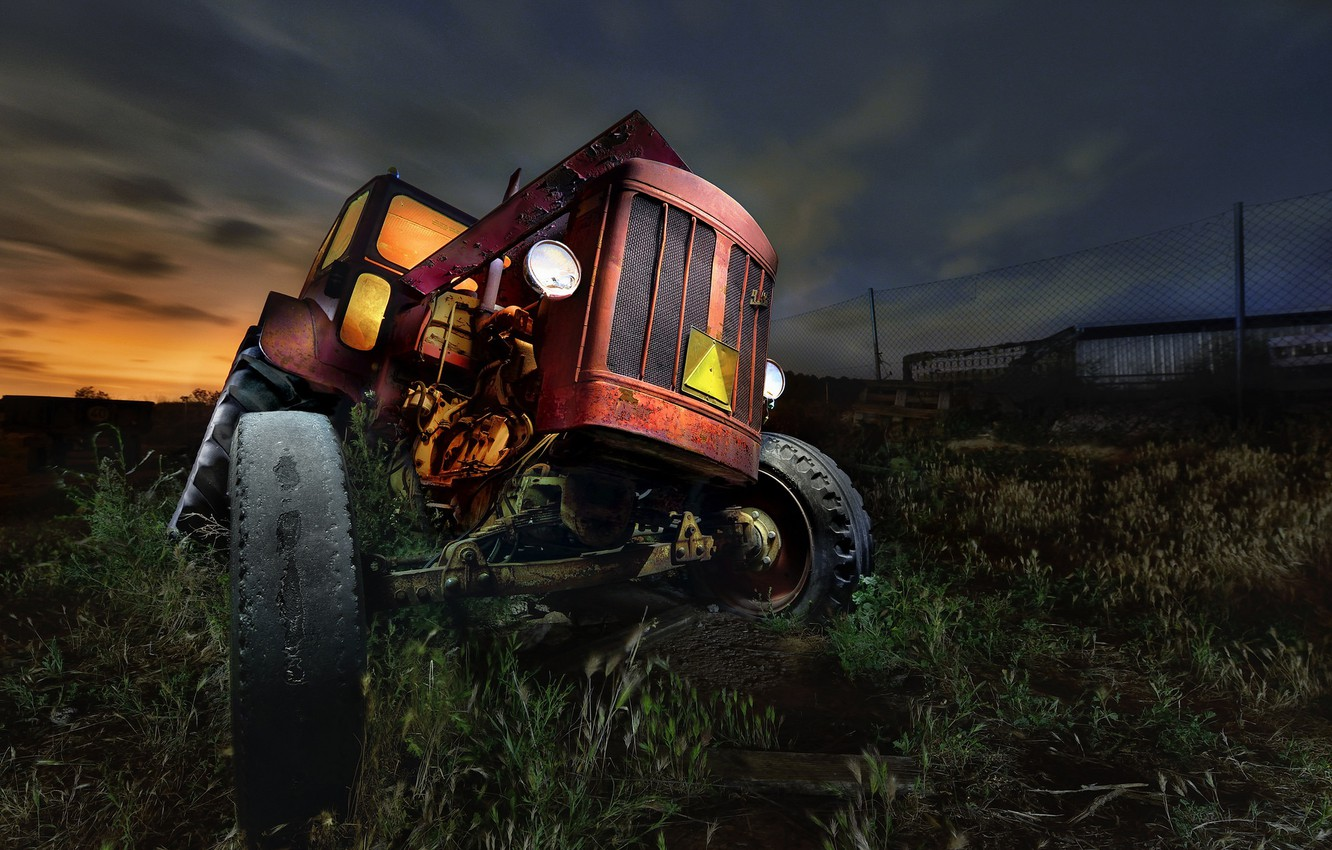 Photo wallpaper night, nature, tractor