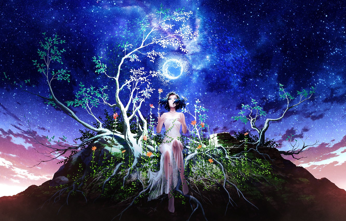 Photo wallpaper the sky, girl, night, branches, tree, the moon, stars