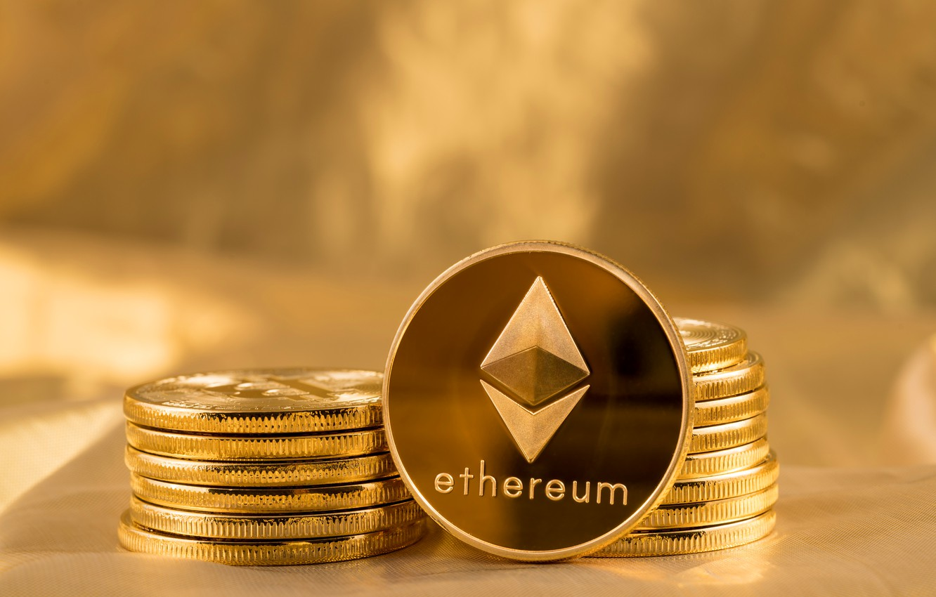 Photo wallpaper logo, gold, fon, coins, the air, eth, ethereum