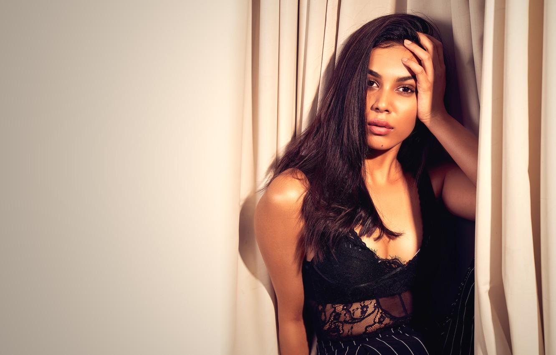 Photo wallpaper girl, eyes, smile, beautiful, model, lips, face, hair, brunette, indian