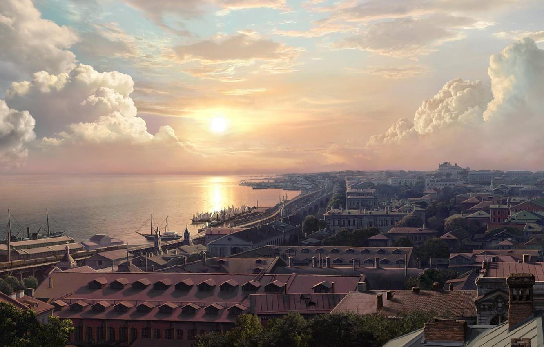Photo wallpaper sea, the city, promenade, Concept artist, Olga Antonenko