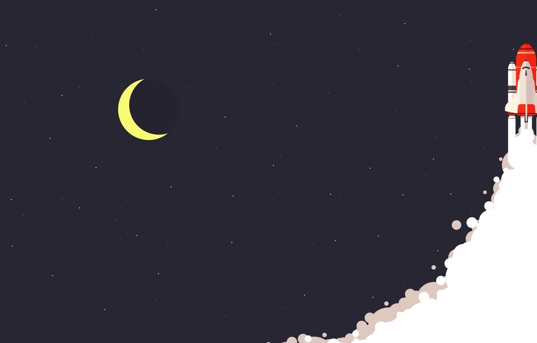 Photo wallpaper moon, minimalism, stars, digital art, artwork, rocket, Space Shuttle