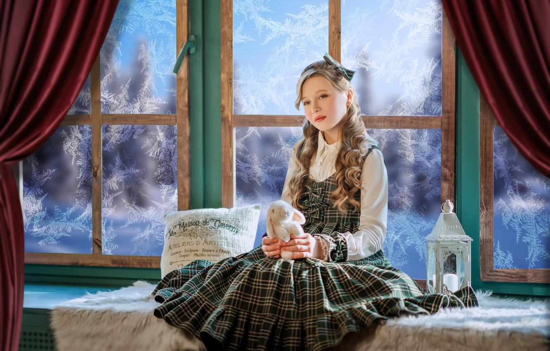 Photo wallpaper toy, rabbit, window, frost, girl, lantern, pillow, Bunny, curls, sundress, on the windowsill, Диана Липкина