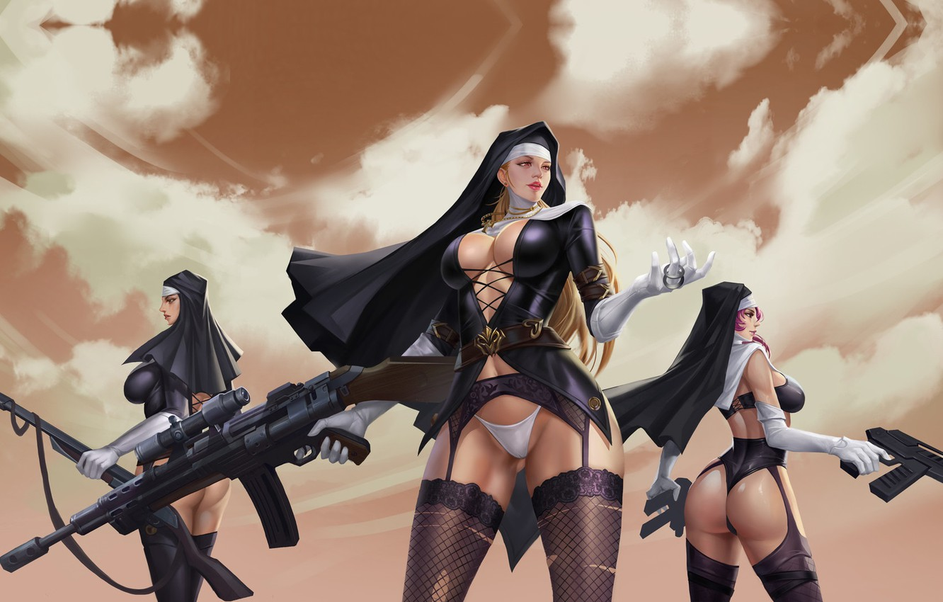 Photo wallpaper weapons, war, sisters, LIU Mingxing, Nuns of the mission