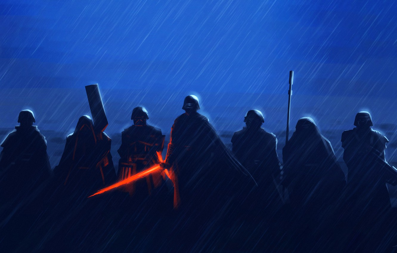 Photo wallpaper Star Wars, Rain, Sword, Fantasy, Art, Lightsaber, Sith, Rain, Fighters, The shower, Characters, Squad, Kylo …