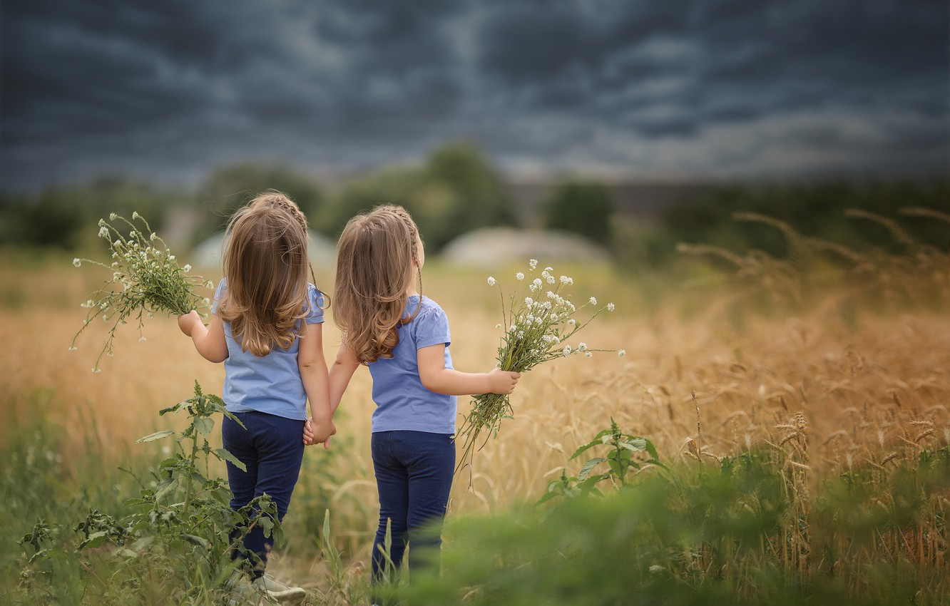 Photo wallpaper field, the sky, grass, clouds, nature, children, girls, sister, Gemini, bouquets