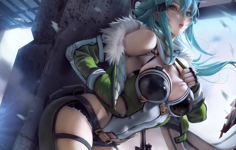 Photo wallpaper girl, weapons, Sakimichan, Sword Art Online, Sword Art Online, Sinon