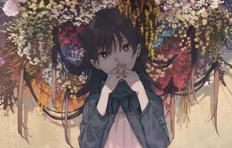 Photo wallpaper look, flowers, girl