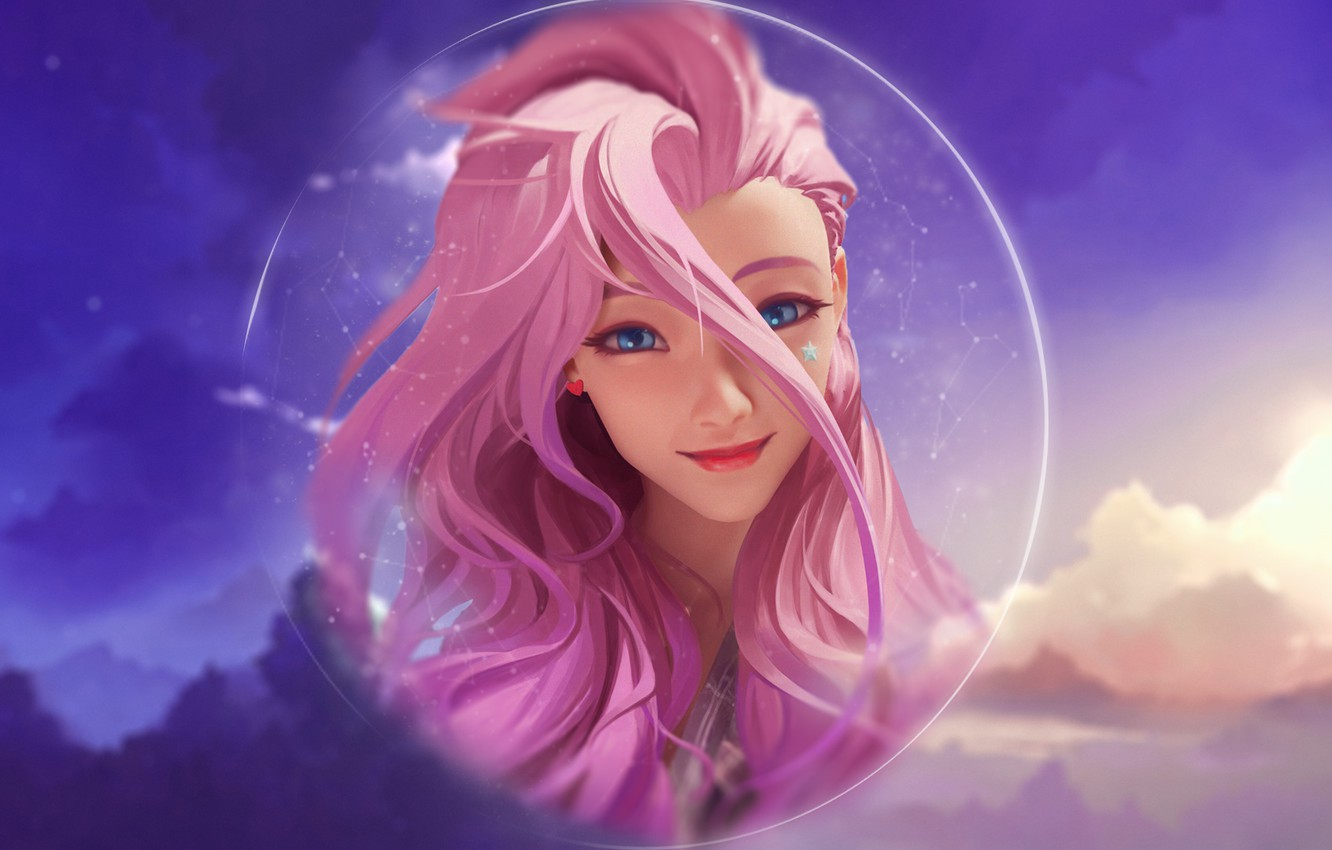 Wallpaper Girl Sky Pink Anime Clouds Lol League Of Legends Seraphine Images For Desktop Section Igry Download