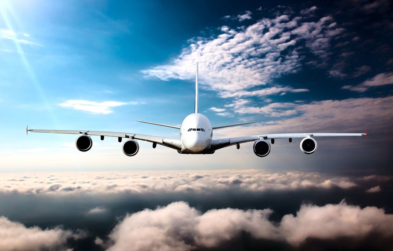 Photo wallpaper the sky, the sun, clouds, height, horizon, flight, the plane, passenger, airliner