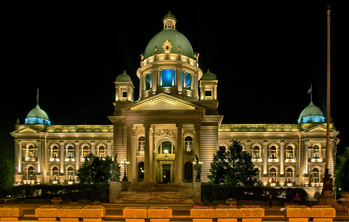 Photo wallpaper night, Serbia, House of the national Assembly