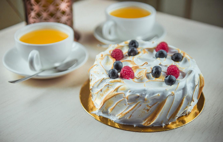Photo wallpaper berries, tea, cake